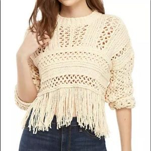 Free People Higher Love Pullover Sweater in Cream